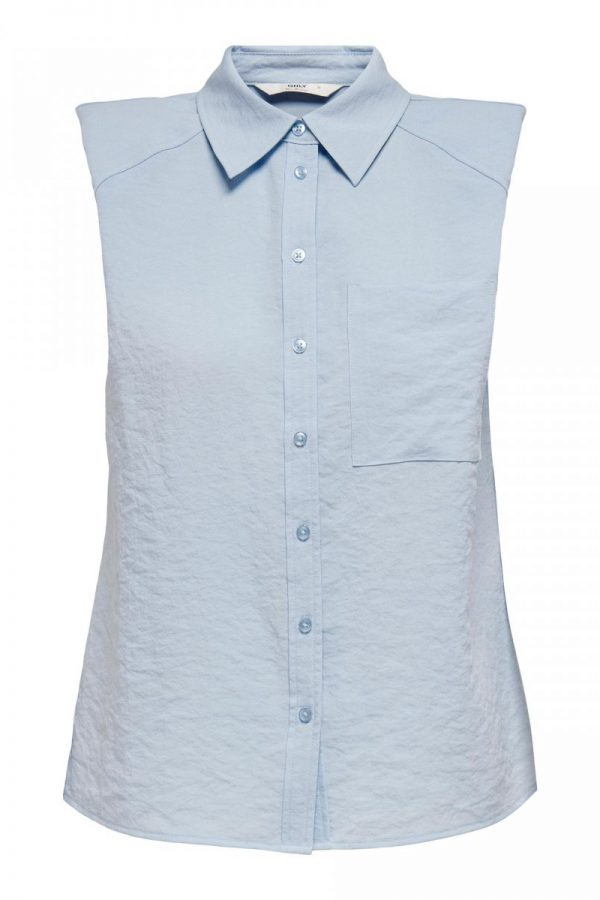 CAMISA ONLY SIN MANGAS AZUL
