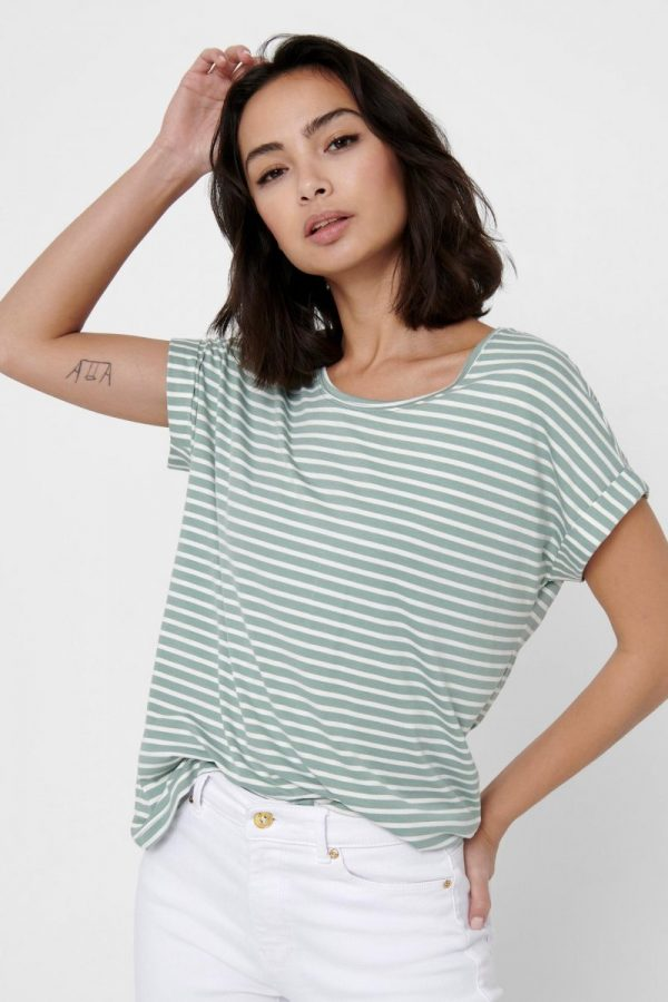 FANCY CHICA CAMISETA ONLY RAYAS VERDE