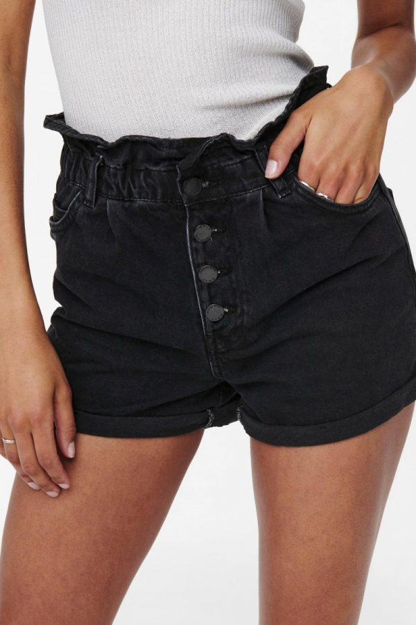 SHORT ONLY JEANS NEGRO CON VUELTA